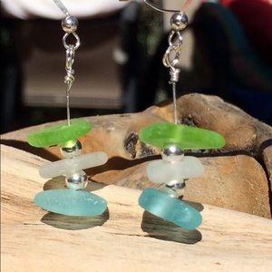 Jewelry - Aqua Blue, Lime Green & Clear Seaglass Earrings